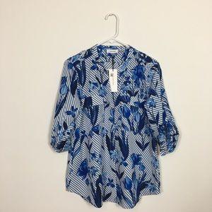 Woman's Blue Floral Print Calvin Klein Blouse